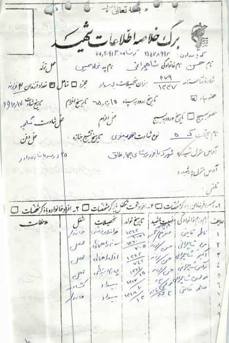 فرم اطلاعات شهید